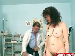 This doctor loves a hairy, mature pussy so when his patient ended up naked on the exam table he took his time exploring that pussy.