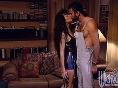 Lewd dark-haired milf Asia Carrera wearing a kinky costume pleases some man with a blowjob and lets him eat her pussy. Then she sits down on the guy's wang and they fuck in reverse cowgirl position.