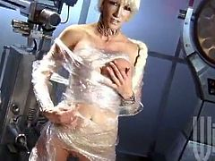 Hot blonde Jessica Drake wearing a costume is having fun with some man in a laboratory. Jessica gives a great blowjob to the man and then they bang in cowgirl position.
