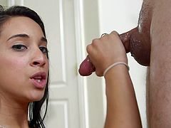 Such a pretty face, she's a sweet girl isn't she? Wanna know what will make her even prettier? Well, a big and thick load of jizz right on her face will make Mia a lot more prettier. Oh yeah, look at her sucking cock for that cum, she does a great job and because she did it like a good girl, the guy repaid her
