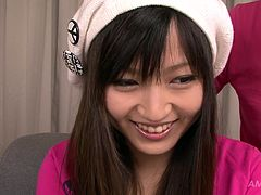 Brunette Japanese girl in beret and pink top gets naked for her boy. Dude sucks her natural tits and desirably licks her moist hairy cunt.