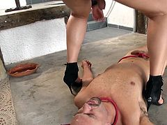 Tranny Patricia loves to dominate and humiliate men. This one was a very bad boy so she gives him her special treatment. She steps on him, makes him suck cock and much more. Want to see how else will Patricia break his self esteem and transform him into a very submissive sex slave? Of course you do!