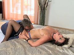 Mom.xxx brings you a hell of a free porn video where you can see how a hot brunette milf gets her tight cunt banged hard and deep into a spectacular orgasm.