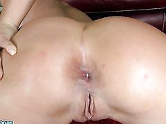 Blonde Kathia Nobili is curious about polishing her love box on camera