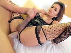 Checkout this sexy Asian shemale with nice tits and juicy bubble butt.See how she sucks on that big hard Latin cock before getting her tight butt hole fucked hard and deep.