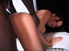 Long haired dark head good looking zealous gal with nice ballrooms got her small sexy mouth passionately deep throat attacked by long dicked African dawg. Look at this harsh fuck in My XXX Pass porn video!