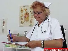Naughty Head Nurses brings you a hell of a free porn video where you can see how a vicious blonde granny nurse gets unshaved pink pussy dildoed by her doctor.