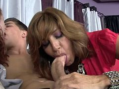 Horny girl kisssing with her boyfriend and touching his dick. Than slutty and hot mother enters the room and teaches the daughter how she should work with cock. Watch in Fame Digital sex clip.