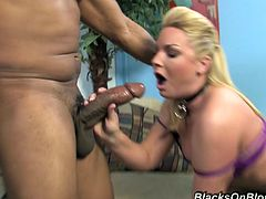 Big-assed blonde milf Flower Tucci sucks and rides a big black dick