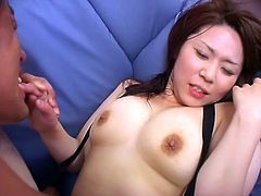 This busty Japanese babe loves to have her pussy drilled with fingers and cock. She is so anxious to get fucked, that she is gobbling on her partner's cock to make him hard, fast.