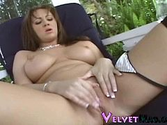 Watch this sexy brunette babe Kodie Coxxx with juicy tits and hot lusty pussy fingering herself in this solo in this outdoor video.See this babe spreading legs and dipping her fingers in that lusty cunt.