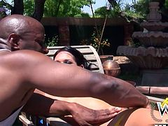 Kinky and sexy dark haired chick with awesome body and nice ass stands in her knees and gives a blowjob to black guy. Have a look at this slut in WCP Club xxx clip.