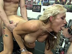 Take a look at this hardcore scene where the busty blonde Zoey Portland ends up with a mouthful of cum after being fucked by two big cocks in a threesome.
