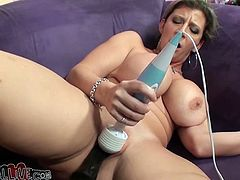 Busty mommy with big chubby booty Sara Jay lies on her back with no clothes on petting her hungry pussy with Hitachi vibrator and 11 inch long dong.
