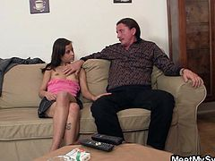 When my dad meet my girlfriend he liked her a lot. In fact, he liked her so much that he wanted to spend some time with her. Luckily, my slutty girl, Ilona, liked dad too so she took off her clothes in front of him. Dad just couldn't help himself not to have a taste of her young pussy so he went for it and much more