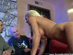 Horny blonde wife gets her cunt nailed hard.