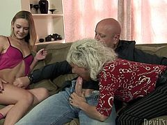 Two horny bitches with light hair take off the man's jeans and start to blow his cock in turn. Watch at this crazy bitches in Fame Digital xxx clip.