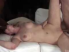 Blond haired whorish bim with massive sexy boobies knelled down and got to provide those kinky dudes with solid deep throat. Have a look at this steamy FMMM fuck in Fame Digital sex video!
