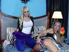 Kagney Linn Karter catches hot hotel maid Devon playing with her set of toys. Round assed stacked maid in sexy uniform gets her lesbian ass ruthlessly dildoed deep by angry blonde.