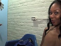 Glory Hole Initiations brings you a hell of a free porn video where you can see how the busty ebony slut baby Cakes gets fucked through the glory hole before getting creamed.