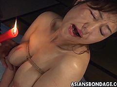 brunette asian mom gets waxed