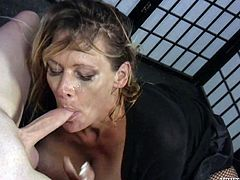 A fuckin' nasty-ass Milf sucks on a hard cock and then gets it shoved balls deep into her fuckin' pussy. Check it out right here!