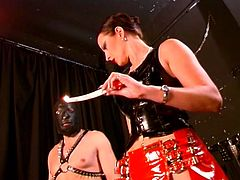 Mistress chick plays with blonde girl and man, they have bsdm fun!
