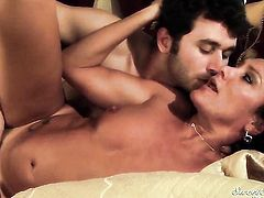 Yummy kitty Michelle Lay moans while sucking James Deens fuck stick harder and harder