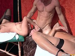 He knows what he's doing and all this people gather around to see him performing his show. His show is about pussy squirting and the guy gives his best, to make these two whores unleash their pussy juicy. Oh yeah, it's a hot show so let's watch it! Enjoy!