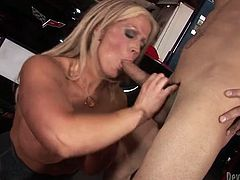 Full figured blonde milfie looks terrific in her black corset, white stockings and high heels shoes. After a great blowjob mommy gets her soaking cunt licked and brutally fucked doggystyle.