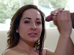 Make sure you have a look at this hot POV where the sexy Marley Blaze sucks on this guy's big cock before he splatters cum all over her face.