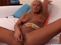 Slim blonde slut Tanya James is getting naughty indoors. She rubs her shaved snatch and then finger-fucks it till she cums.