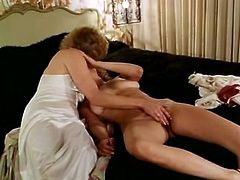 Kinky and filthy whore with nice body and nice shape gets her dripping vagina drilled meanwhile slutty girls licks each other's tits. Have a look at this babes in steamy The Classic Porn sex clip.
