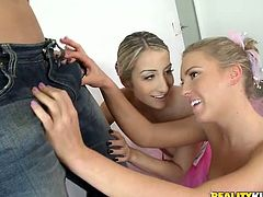 Witness this clip where two blonde teens, with natural boobs wearing their ballet uniform, while they have an amazing threesome with a horny guy.