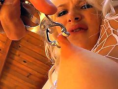 Sexual big tittied blondie Anikka Albrite gets punished by John Stagliano in this xxx action. He puts metallic clamps on her breasts before spanking big butt of beauty.