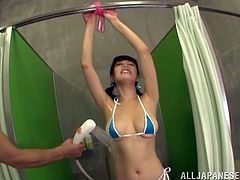 Japanese couple play in the shower with toys and vibrator. Mao Hamasaki in pigtails is a real doll with a hot ass, perky natural tits, and hairy pussy.