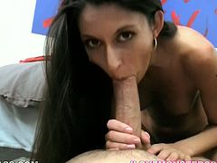 Svelte black haired bitch Nikki Daniels pushes her fucker on the floor and tops his massive dick like a pro cowgirl. Check out how massive prick pounds her tight meaty snatch.