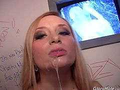 Gorgeous Aiden Starr blows a BBC in a glory hole vid