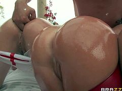Krissy Lynn, Nikki Delano, and Rose Monroe are three gorgeous women with big wet butts. They bend over for Toni Ribas and get their asses used. They get anally fingered and then take his dick in their buttholes by turns.