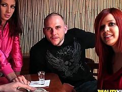 This redhead girl agrees to have sex in Money Talk reality show. She gives a blowjob in front of other people. Later on she also gets fucked in her wet pussy.