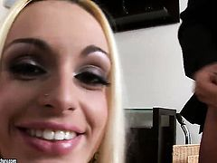 Blonde Erica Fontes knows no limits when it comes to eating her fuck buddys man meat