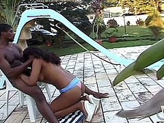 It´s a sunny perfect day to hang out! A black girl with curly hair smiles at the camera. She slowly gets rid of all clothes, item per item, touching her boobs and vagina. This looks like more than an invitation, don´t you agree? The ebony boy licks her pussy. Watch how she repays him for the effort!