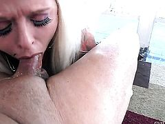 Angel Vain gets her mouth stretched by Joey Silveras erect ram rod