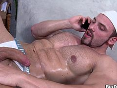 Big boy Tomm was spending some quality moments with himself. He was rubbing his cock and anus when he received a phone call from a friend. Because he couldn't miss such an opportunity, Tomm invited him over and had no use for his sex toy anymore. Soon, Paul arrived and sucked Tomm's hard cock for his cum.