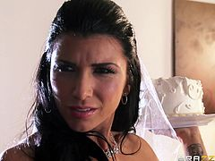 She's a beauty and she's about to get married! Too bad she has a nasty attitude! The bride wants everything to be perfect for her wedding and she really doesn't likes the cake. She talks with the catering guy like a spoiled bitch and then finds out she knew him. The slut manages to piss him up so he fucks her!