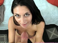 Tight porn babe with black hair Nikki Daniels sits on couch all naked giving sensual blowjob. After working on that dick with her mouth babe gets her shaved coochie fucked missionary style.