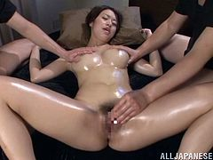 A gorgeous Japanese bitch sucks cock and gets fuckin' fucked in her gash, hit play and fap to this fuckin' scene, bitch!