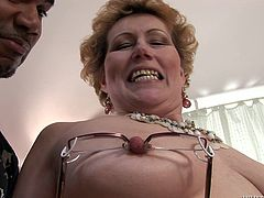 Grandma had a lot of cock at her time and she always preferred black ones! Well, Franco is a good guy and he wants to make his granny happy, so he gives her his. The old, saggy whore happily opens her mouth for him and sucks his dick hard with her saggy lips. Let's see, if she will receive some jizz too