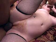 Have fun with this hardcore scene where the horny Cherry Poppens ends up with ut of breath after being fucked by two guys in a threesome.
