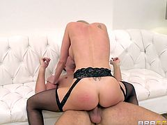 Have a look at this sensual and experience blonde! She's a naughty piece of ass and boy, does she looks hot in those sexy black stockings. Her name is Brandy and she's about to show some love to Keiran, as she goes on top of him, and takes full advantage of his big thick dick, big enough to make her squirt!